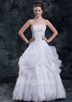 Floor Length Appliques Lace Up Tulle Strapless White A-line Sleeveless Wedding Dresses