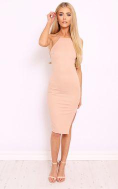 MORGAN Nude Backless Midi Dress - SilkFred