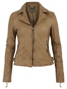 Muubaa Auriga Leather Fitted Biker in Almond