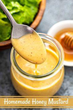 Honey Mustard Recipes, Homemade Honey Mustard, Honey Recipes, Honey Mustard Dressing, Honey Mustard Sauce, Honey Mustard Chicken, Honey Mustard Vinaigrette, Honey Sauce, Dipping Sauces For Chicken