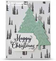 """Stampin Up Peaceful Pines – Happy Christmas card. ——— S U P P L I E S ———  • Oh, What Fun Photopolymer Stamp Set #140386 • Peaceful Pines Photopolymer Stamp Set #139728 • Perfect Pines Framelits Dies #139665 • Whisper White Craft Stampin' Pad #101731 • Basic Black Archival Stampin' Pad #140931 • Whisper White 8-1/2X11 Card Stock #100730 • Mint Macaron 8-1/2"""" X 11"""" Cardstock #138337 • Silver Foil Sheets #132178 • Big Shot Die-Cut Machine #113439 • Lots Of Labels Framelits Dies #138281"""