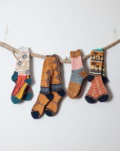 Kapital Aloha Tribal Socks in Off-White
