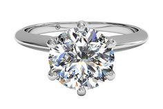 Solitaire Diamond Six-Prong Knife-Edge Engagement Ring - in Platinum with a 1.25 Carat, Round Diamond