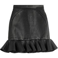 David Koma Leather Ruffle Hem Mini-Skirt ($970) ❤ liked on Polyvore featuring skirts, mini skirts, black, short ruffle skirt, short mini skirts, short leather skirt, leather mini skirt and flared leather mini skirt