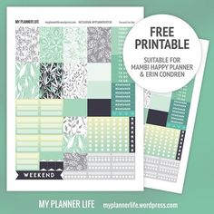 Free Printable Mint Jungle Planner Stickers at My Planner Life