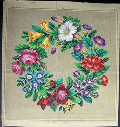 Berlin Woolwork Antique Multi-floral Wreath 4 by MyTreasureIsland