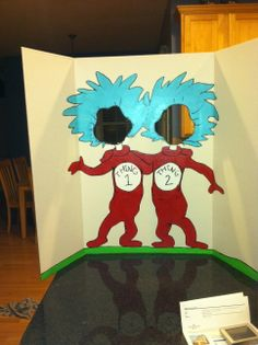 Thing 1 & Thing 2 photo board for Dr. Suess themed Purim carnival!