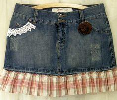 Upcycled Denim Mini Skirt Plaid Ruffles Size 7 by rosiemoonbeams, $30.00