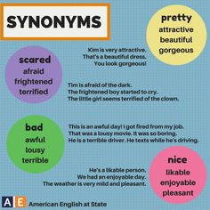 Happy Sunday! Today's Synonym Sunday post has synonyms for four words: pretty, scared, bad, and nice. What is something beautiful or enjoyable in your life? #AmericanEnglish