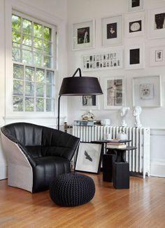 black and white interior coziness
