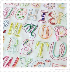 Sublime Stitching - Epic Alphabet in embroidery and beads stitched by Sachi @ beaujardin Embroidery Fonts, Hand Embroidery Patterns, Embroidery Applique, Cross Stitch Embroidery, Embroidery Designs, Embroidery Alphabet, Stitch Witchery, Fabric Journals, Stitch Design