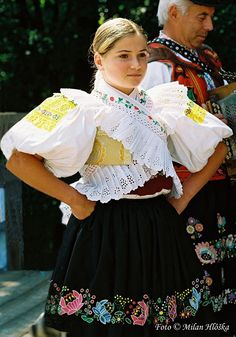 Korytárky (part of town Detva), Podpoľanie region, Central Slovakia. European Costumes, Folk Clothing, Beautiful Costumes, Folk Costume, World Cultures, People Around The World, Beauty Photography, Traditional Dresses, Prague