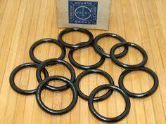 """Old steel rings-black japanned steel rings-industrial black rings-black metal rings-machine age rings-new old stock-11 metal 2"""" rings by BECKSRELICS on Etsy"""