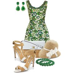 Green Floral Dress, created by cathy0402 on Polyvore
