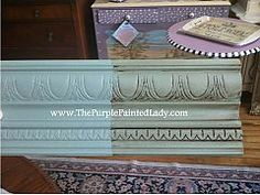 Chalk Paint™ Decorative Paint by Annie Sloan Duck Egg Blue.  Two coats, then one coat of clear wax over whole board and dark wax over half.