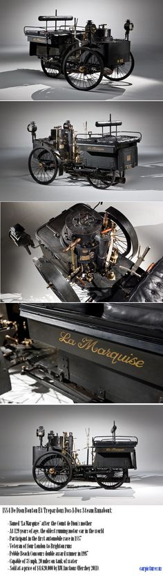 1884 De Dion Bouton Et Trepardoux Dos-A-Dos Steam Runabout, the oldest running motor car in the world.