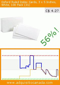Oxford Ruled Index Cards, 3 x 5 Inches, White, 100 Pack (31) (Office Product). Drop 56%! Current price C$ 4.27, the previous price was C$ 9.81. https://www.adquisitiocanada.com/esselte-canada/oxford-ruled-index-card-3