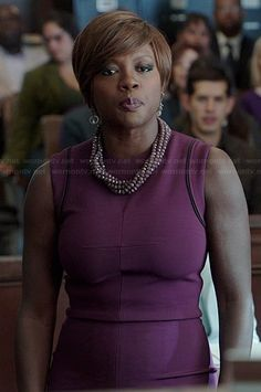 Annalise's purple sleeveless dress with black trim on How to Get Away with Murder.  Outfit Details: http://wornontv.net/38496/ #HTGAWM