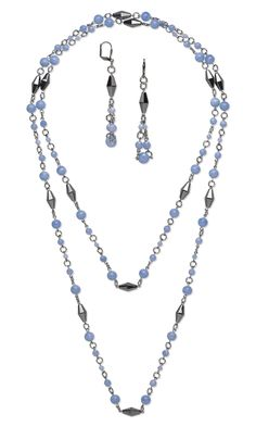 Jewelry Design - Single-Strand Necklace and Earring Set with Blue Lace Agate Gemstone Beads, Hemalyke™ Beads and Gunmetal-Plated Brass Jumprings - Fire Mountain Gems and Beads
