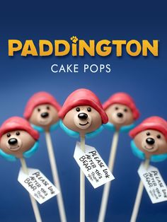 Paddington Cake Pops with his signature red hat and a hint of a blue collar from his duffle coat to carry out the look.