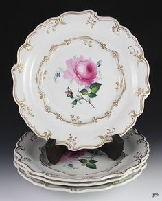 4 Lovely Porcelain Plates Gilded Hand Painted Floral