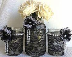 vidro decorado com renda preta