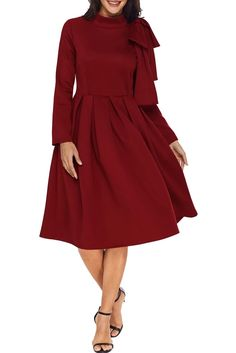 Informations About Black Bowknot Embellished Mock Neck Pocket Skater Dress Pin You can easily use my Dresses For Teens, Dresses For Work, Casual Dresses, Elegant Dresses, Mode Purple, Summer Dress, Outfit Trends, Outfit Ideas, Classy Dress