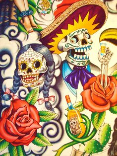 Contigo by Alexander Henry (1125×1500) Day of the Dead, Dia los Muertos, tattooes, skeletons, skulls -- not my cup of tea, but for those who like this sort of thing...