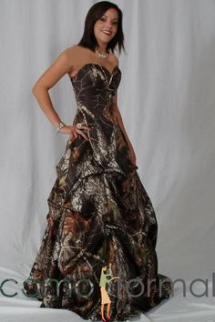 Camo Wedding Dress PR 3045 Bobby Jean Strapless Pickup Skirt - Camo Wedding Dress - My niece sent me this is she hinting something?I do love this she does know her aunt well. Camouflage Wedding Dresses, Camo Wedding Dresses, Grad Dresses, Homecoming Dresses, Wedding Gowns, Bridesmaid Dresses, Formal Wedding, Wedding Attire, Bridesmaids