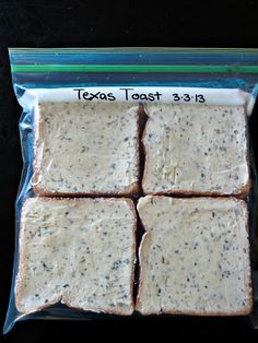 Garlic Texas Toast- Make your own to freeze! I love this recipe!