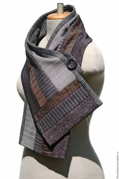 Buy The scarf woolen PATCHWORK.Scarf mens, winter - The scarf woolen PATCHWORK - buy or order in an online shop on Livemaster Sewing Men, Love Sewing, Sewing Clothes, Men Clothes, Sewing Hacks, Sewing Tutorials, Sewing Projects, Sewing Patterns, Wool Fabric