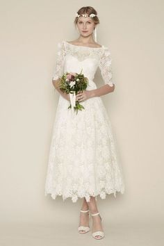 Short Lace Plus Size Oleg Cassini Cap Sleeve Tea Length Wedding ...