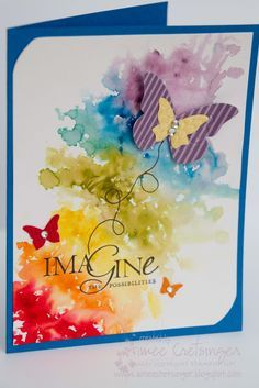 Stamper:  Aimee Cretsinger    I just had to add another post today! Last night I was up creating very late and I tried something new. I was inspired by a card I saw on a blog byJessica Wittyusing Watercolor Paints...I just loved it! I decided to recreate it using Stampin' Up! Products. Hereare the results.
