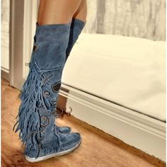 EL VAQUERO 20MM FRINGED OVER THE KNEE SUEDE BOOTS EtsywcPPf0