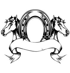 Illustration of Vector illustration heads horses and horse shoe vector art, clipart and stock vectors. O Cowboy, Horse Stencil, Shoes Vector, Cupcake Drawing, Horse Silhouette, Bull Skulls, Horseshoe Art, Pintura Country, Horse Drawings