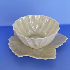 Irish Belleek Cofermanagh Small Iridescent Fragile Bowl Leaf Shape Dish  #BelleekCofermanagh