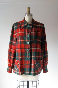 vintage Pendleton jacket / plaid jacket by Dronning on Etsy Pendleton Jacket, Point Collar, Label Design, Plaid Pattern, Outfit Ideas, Autumn, Vintage, My Style, Sleeves