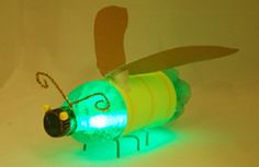 Glow in the dark Inscets with soda bottle & glow sticks!Once made, they can be saved each year and then a new glow stick can be added inside. The kids love flying these around the yard at night! Could be a fun camping craft Diy With Kids, Art For Kids, Projects For Kids, Diy Projects, Recycling Projects, Pop Bottle Crafts, Pop Bottles, Plastic Bottles, Glow Sticks