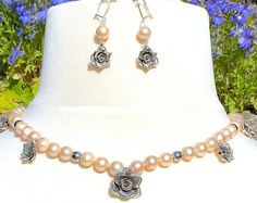 Pink Akoya Pearls, Fine Silver Roses & Hematite Accents Necklace & Earrings Suite.  Georgian style.