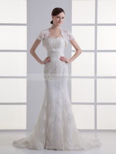 Barbara - sirena coda a strascico corto abito da sposa in pizzo con perline