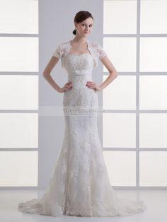 Barbara - Escote corazón corte sirena vestido con abalorio y bolero topwedding
