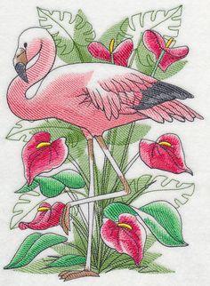 Tropical Flamingo Sketch design (L2683) from www.Emblibrary.com