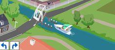 Na elke animatie wordt de werking van 4 verschiilende bruggen uitgelegd.  ophaalbrug  draaibrug  hefbrug  basculebrug  Nadien kan je het vaste bruggenspel spelen. Je moet zelf bruggen bouwen.