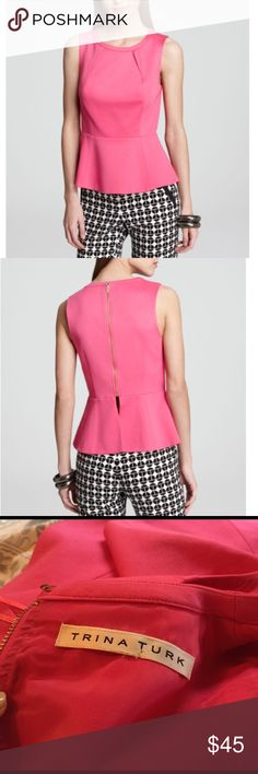 •Trina Turk• Refinement Peplum Top A pretty pop of pink, this Trina Turk top features a covetable peplum and pintuck detailing. Really work this blush-worthy hue by pairing with bold black and white pants. In excellent used condition, size tag is missing, I believe this is a 0 or a 2.  Rayon/nylon/spandex; lining: polyester Dry clean Imported Crewneck, sleeveless, peplum hem Exposed back zip, lined. Trina Turk Tops Blouses