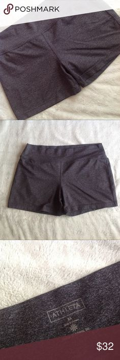 Athleta Yoga Running Soft Shorts Charcoal Gray Excellent used condition. Super soft shorts by Athleta that are perfect for yoga, running or lounging. Heathered charcoal gray with flecks of black throughout. Nylon, polyester, lycra spandex blend that's so comfortable and stretchy. Two back pockets, one with Athleta logo. Size XL, see photos for measurements. Athleta Shorts