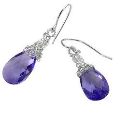 Lila KristallOhrringe Silber violett Swarovski Kristall von Yoola, $47.00