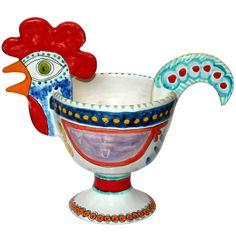 Vintage Italian DeSimone Pottery Rooster Bowl Centerpiece, 1960's.