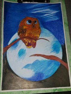 Owl nigth My Drawings, Owl, Painting, Painting Art, Owls, Paintings, Painted Canvas, Drawings