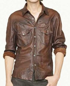 V Tab Leather Shirt - LeatherCult.com Great shirt, made as per your measurements