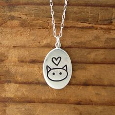 Love Me Love My Cat Necklace  Sterling Silver Pendant or by marmar, $32.00